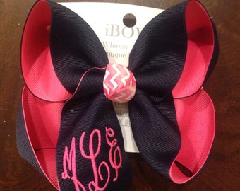 Monogram Solid on solid your choice of colors ex large bow