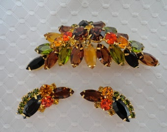 Vintage Juliana, Demi Parure, with Stunning Fall Colors.