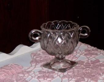 Vintage Indiana Glass Pretzel Crystal Sugar Bowl