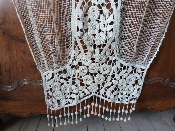antique french crochet lace curtain drape hand crocheted