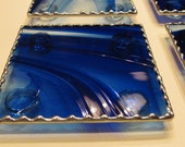 Cobalt Blue and Clear Baroque Stained Glass Coaster Set - Unique Gift Idea - Bar Gift