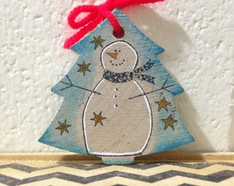 Frosty the Snowman Blue Christmas Tree Wood Ornament