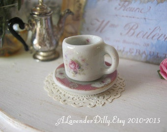 Pink Stafordshire Rose Coffee Mug and Plate for Dollhouse