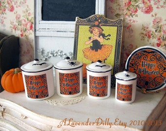Halloween Dollhouse Canisters 1/12 scale