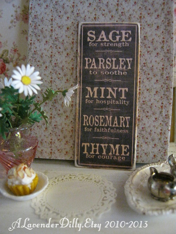 herb garden sign print for dollhouse