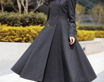 Dark Grey Hooded Maxi Coat Big Sweep Double breasted Hooded Long Wool Coat Winter Coat Long Jacket Tunic / Fast Shipping - NC500