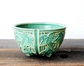 Early McCoy Pottery Hanging Basket Planter Pot, Turquoise Ivy Leaf Antique Art Vintage Decor
