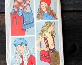 1970s Simplicity Pattern 9644, UNCUT Hat Cap Belt Suspenders Bag, NOS Vintage Fashion Accessory Sewing Patterns