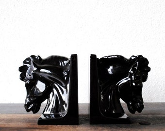 Deco Modern Black Horse Head Bookends, Vintage Office Decor Statuettes