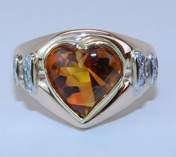 Diamond and Citrine Heart Ring 14K Yellow Pink Gold Estate Vintage Ring Size 7.25