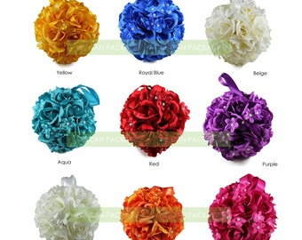"6.5"" Silk Rose Kissing Flower Balls Pomanders with Pearl for Wedding Event Decoration Centerpieces"