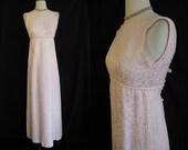 Vintage 1960s Emma Domb Pink Brochade Gown Evening Dress