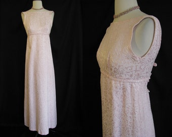 Vintage 1960s Emma Domb Pink Brochade Gown Evening Dress