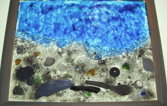 Seashells on the Seashore OOAK Stain Glass Creation