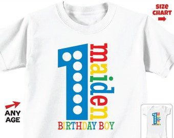 1st Birthday Shirt or Bodysuit  (Primary Colors) - Personalized Birthday Shirt - It's Fun to be One