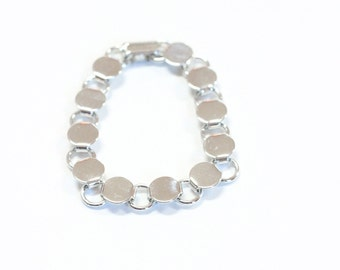 5 Silver Tone White Plated Disk and Loop Bracelets with Glueable Pads