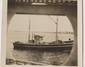"Vintage Photo ""Through the Port Hole"" Boat Snapshot 1950s Military"