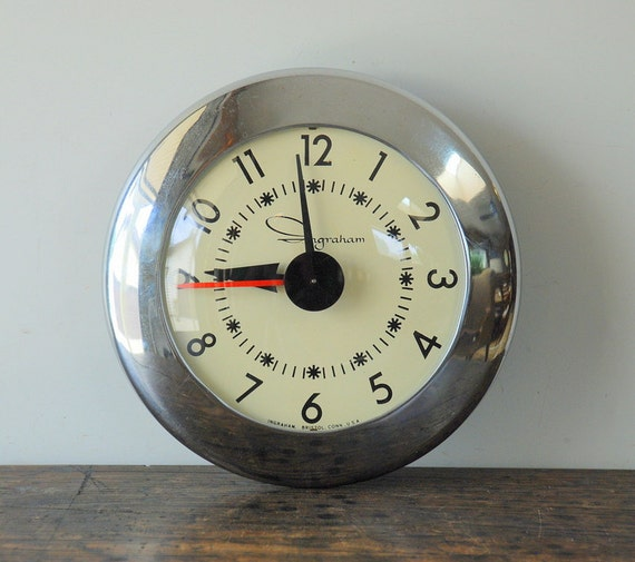 Retro Electric Kitchen Wall Clocks: SALE Midcentury Electric Wall Clock By Ingraham Bristol