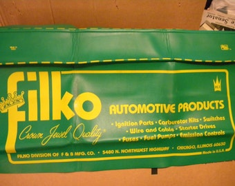 clean vintage never used 1970s or so FILKO AUTOMOTIVE advertising mechanic FENDER protector cover