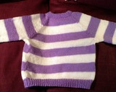 Custom Order for A Deitrich: girl's sweater, purple and white stripe, ragland sleeve, size 6