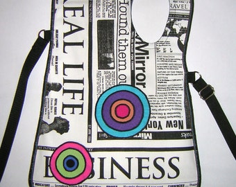 Newspaper Journal MEDIUM CANVAS BAG cross body bag  Hip Purse  slim bag Travel Tote Shoulder Haversack in Black White with Rainbow Circles