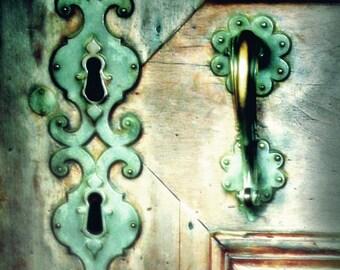 Door Art-Turquoise Door-Europe Print-Fine Art Photograph-Teal-Ornate-Rustic-Aged-Mint Green Door-Key Hole-Mint Green-Shabby Chic-Travel-Dorm