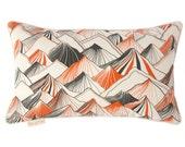 Mountain Pillow - Natural with Orange, 20 x 12
