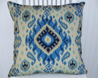 Blue Decorative Pillow Cover--  Accent Pillow 18x18 or 20x20 or 22x22-- Dark Blue, Light Blue, Taupe, Cream
