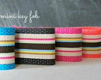Preppy Stripe Keychain Lanyard, Ribbon Mini Key Fob, Teacher Appreciation Gift, Back to School, Choose Webbing Color