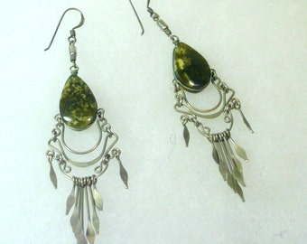 Vintage Tribal Silver Wire and Natural Stone Earrings - 1980's
