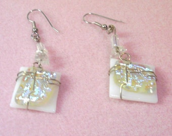 Vintage White Dichroic Glass Earrings