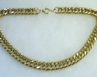 Vintage Heavy Gold Tone Cable Chain Necklace 18 Inches Long