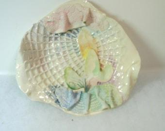 Vintage Hand Crafted Art Ceramic  Desert Sunrise Placque - Signed