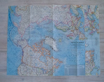 1965 top of the world national geographic wall map