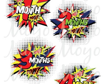 baby boy monthly stickers or iron ons - set of 13 month to month graphics - COMIC book ACTION SUPERHERO theme - newborn baby shower gift