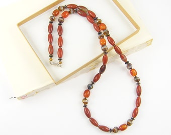 Red Jasper Necklace, Carnelian Necklace, Rust Gemstone Beaded Jewelry