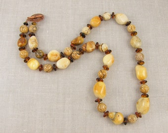 Agate Necklace, Yellow Bead Necklace, Honey Necklace, Beige Necklace, Gold Amber Brown Beaded Semiprecious Stone Jewelry