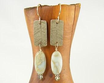Green Leaf Earrings, Etched Metal Earrings, Leaf Skeleton Earrings, Green Gemstone and Crystal Dangle Earrings, Green Agate Earrings |EC1-19