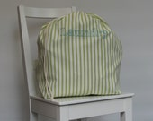 Laundry bag  - lime white stripes aqua embroidery - drawstring storage