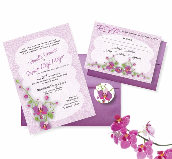 Radiant Orchid Wedding Invitation Suite: 5x7 Invitation, RSVP Card, Envelopes, Envelope Seal 2014 Color of the Year