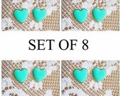 Bridesmaids Earrings Set of 8 Mint Green Wedding Sisters Gift Friendship Bridal Jewelry Lot of 8 Heart Stud Gold Plated Post 15% Discount