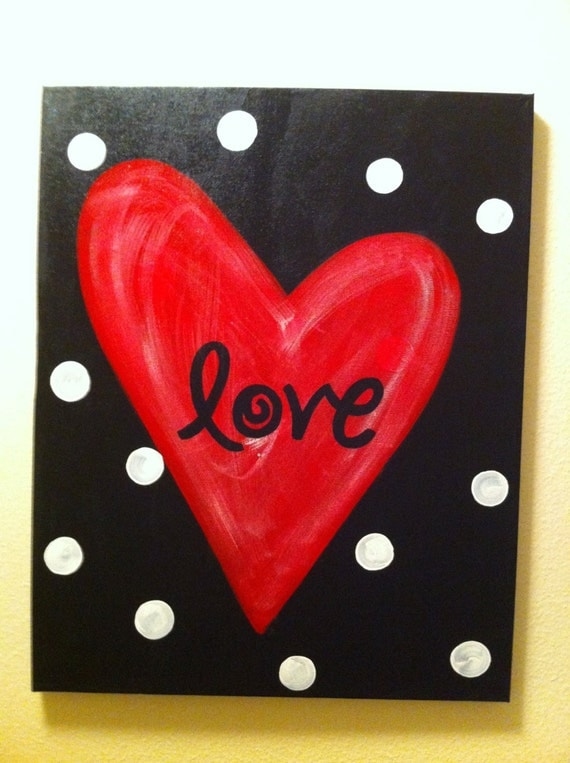 Items Similar To Red Heart Quot Love Quot Canvas On Etsy