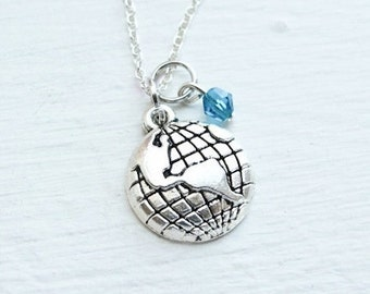 World Traveler Necklace- Earth Globe Necklace- Ocean- Blue and Silver- Jewelry- Natural Beauty- Galaxy- Solar System- Planet