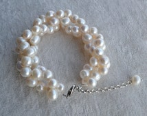 white Pearl Bracelet, 8-9mm real white pearl Bracelet,twisted pearl Bracelet.freshwater pearl bracelet,bridesmaid bracelet, wedding bracelet