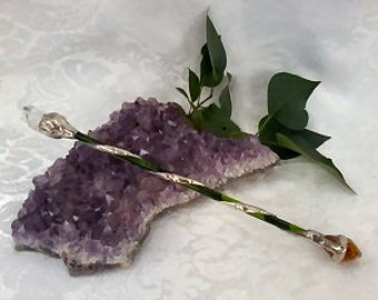 Natural Quartz Crystal Green Wand / Wicca Pagan Magic Wand / Spiritual Healing Energy Ritual Tool / Harry Potter Fantasy Wand Gift