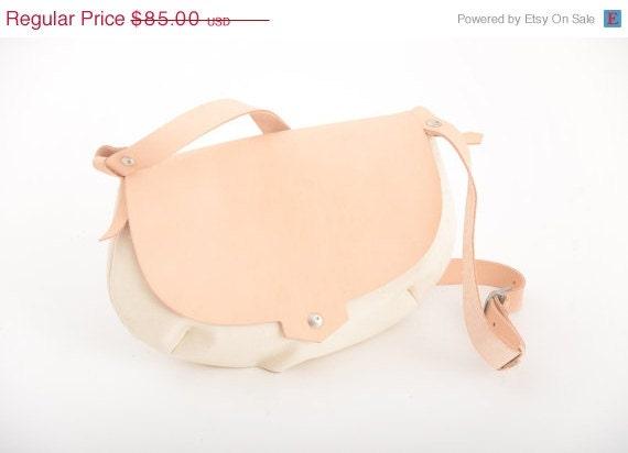 Canvas bag with Leather  - Saddle bag