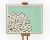 11x14 Mint Ivory Painting - Modern Flower Painting - Light Aqua Sea Foam Brown