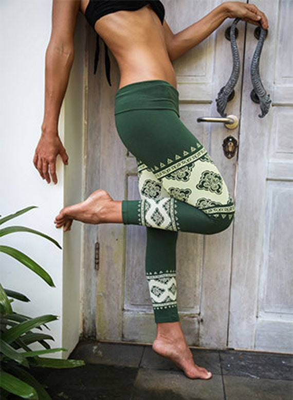 women's yoga pants green cloud lace leggings