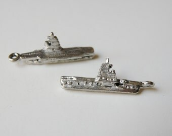 2 Aircraft Carrier military 3D charms USA Navy charms Air Force charm antique silver 30x10mm PGC063