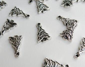 10 Christmas Tree charms antique silver metal 24x15mm DB02099